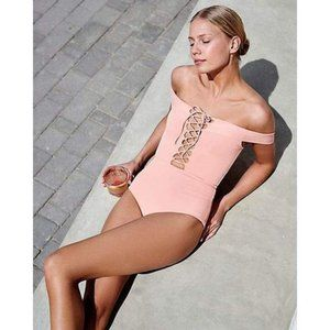 L*Space Anja Lace Up Peach One Piece Swimsuit 8 M